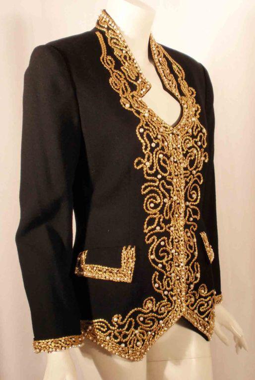 Women's Adolfo Black Jacket w/Gold Trim For Sale