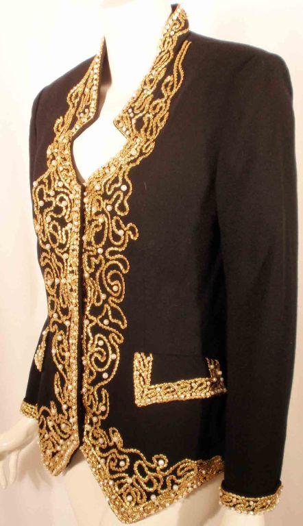Adolfo Black Jacket w/Gold Trim For Sale 1