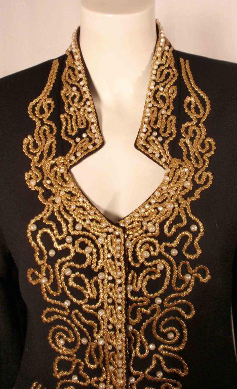 Adolfo Black Jacket w/Gold Trim For Sale 3