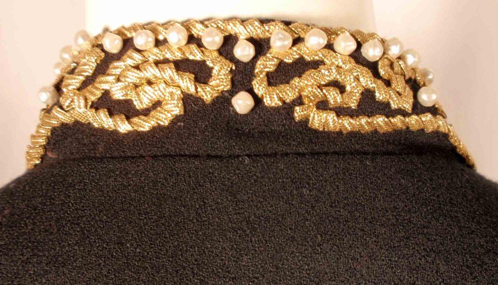 Adolfo Black Jacket w/Gold Trim For Sale 4