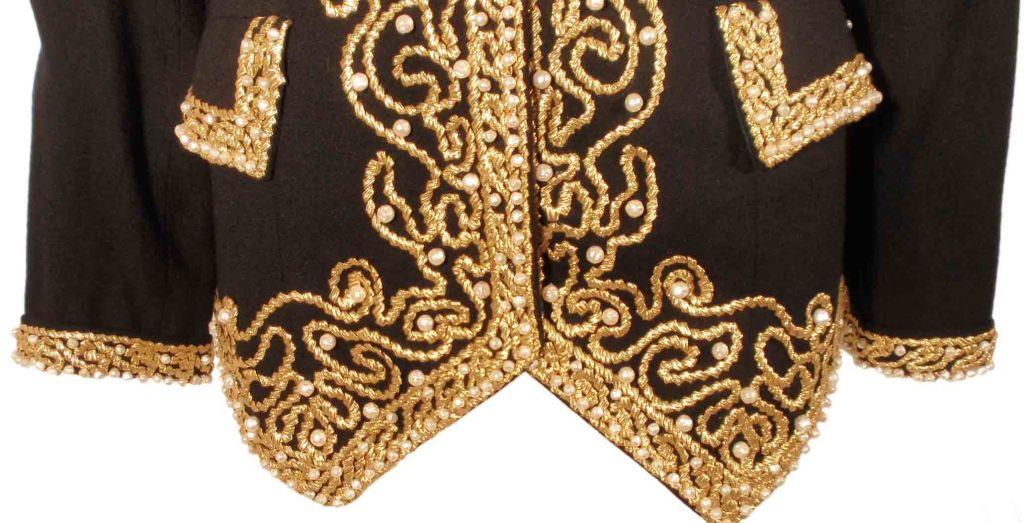 Adolfo Black Jacket w/Gold Trim For Sale 5