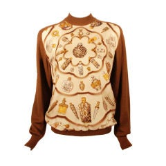 1980's Hermes Brown Cashmere Sweater with Silk Twill Perfume Print Size 42