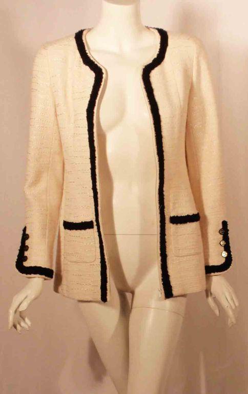 Chanel Cream Jacket w/Black Trim at 1stdibs