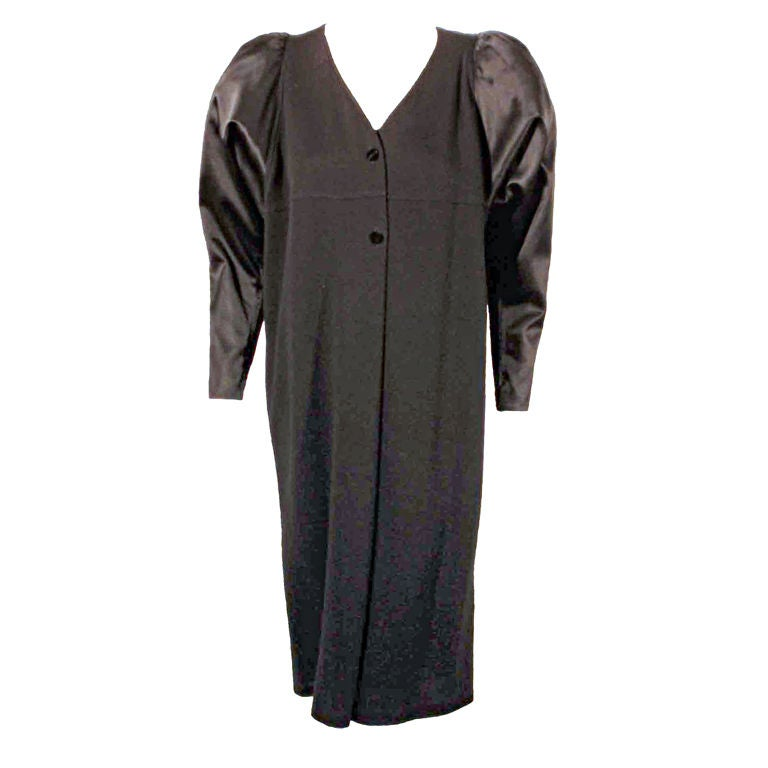 Geoffrey Beene Black wool jersey Cocktail Dress with Satin Pouf Sleeves