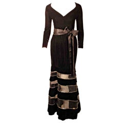 Givenchy Black Velvet Gown with Horsehair Rhinestone Trim Sheer Sections
