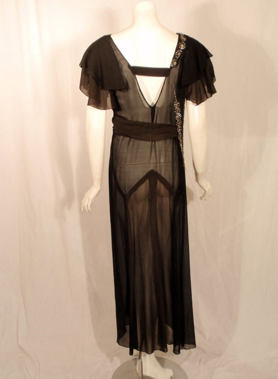 Vintage Black Chiffon Bias Cut Evening Dress w/ Beading, c.1920s In Good Condition For Sale In Los Angeles, CA