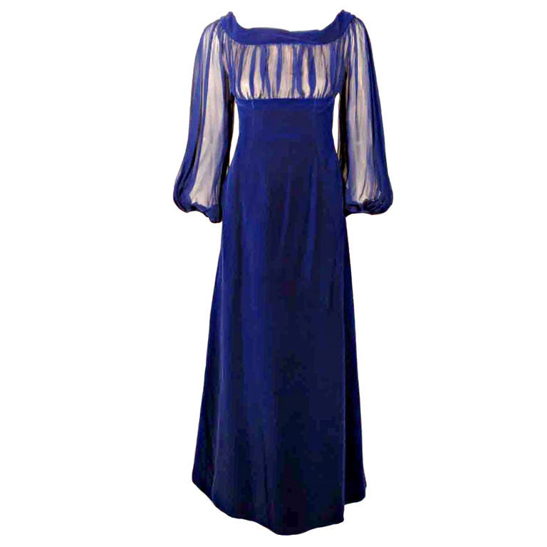 GIVENCHY Couture Blue Velvet Off Shoulder Gown with Sheer Chiffon Poet Sleeves