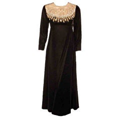 Malcolm Starr by Elinor Simmons Black Velvet Gown with Rhinestones Collar