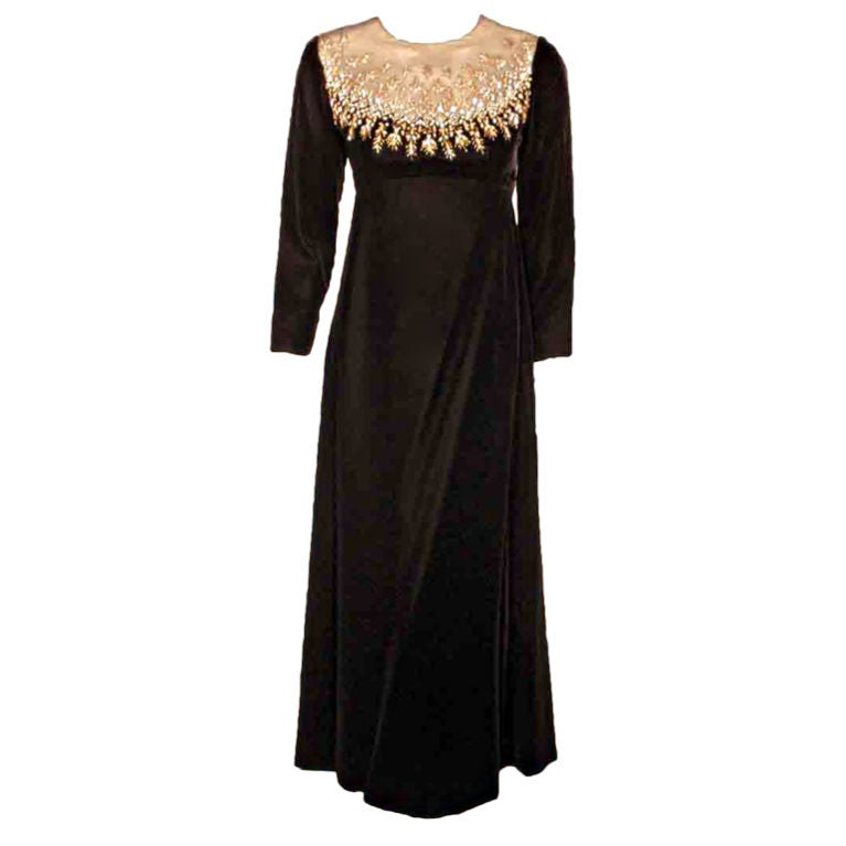 Malcolm Starr by Elinor Simmons Black Velvet Gown with Rhinestones Collar For Sale