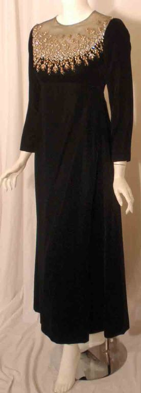Malcolm Starr by Elinor Simmons Black Velvet Gown with Rhinestones Collar For Sale 1