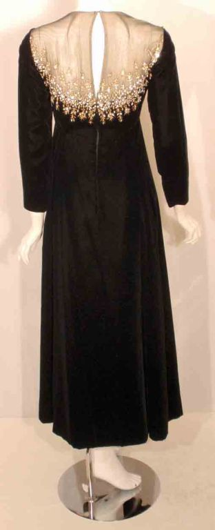 Malcolm Starr by Elinor Simmons Black Velvet Gown with Rhinestones Collar For Sale 2