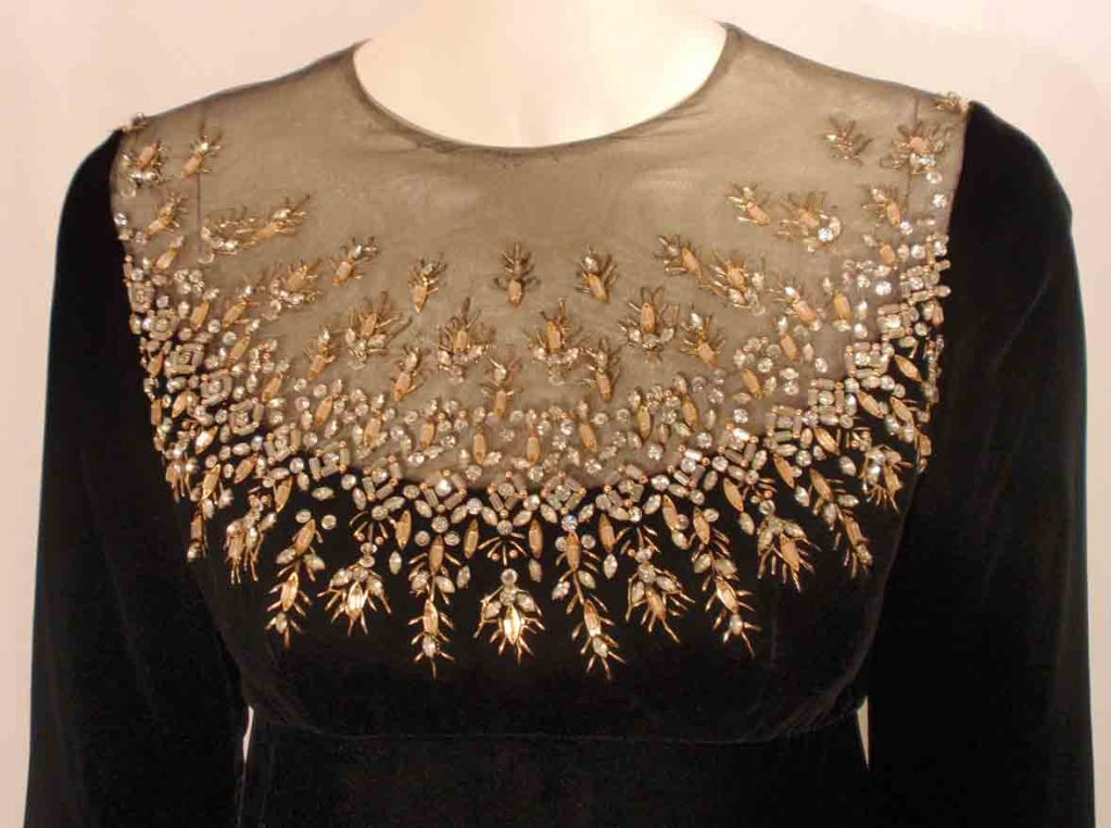 Malcolm Starr by Elinor Simmons Black Velvet Gown with Rhinestones Collar For Sale 3