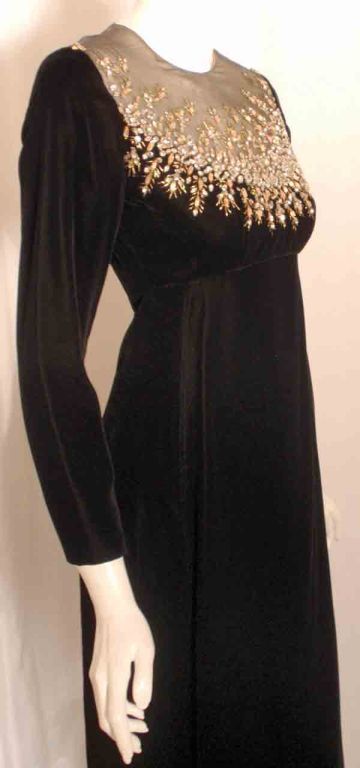 Malcolm Starr by Elinor Simmons Black Velvet Gown with Rhinestones Collar For Sale 4