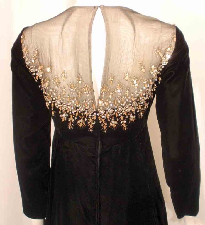 Malcolm Starr by Elinor Simmons Black Velvet Gown with Rhinestones Collar For Sale 5