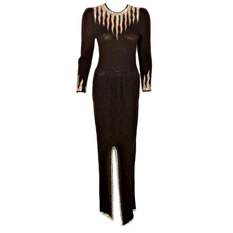 ADOLFO Black Knit Gown with Rhinestones, Circa 1990's