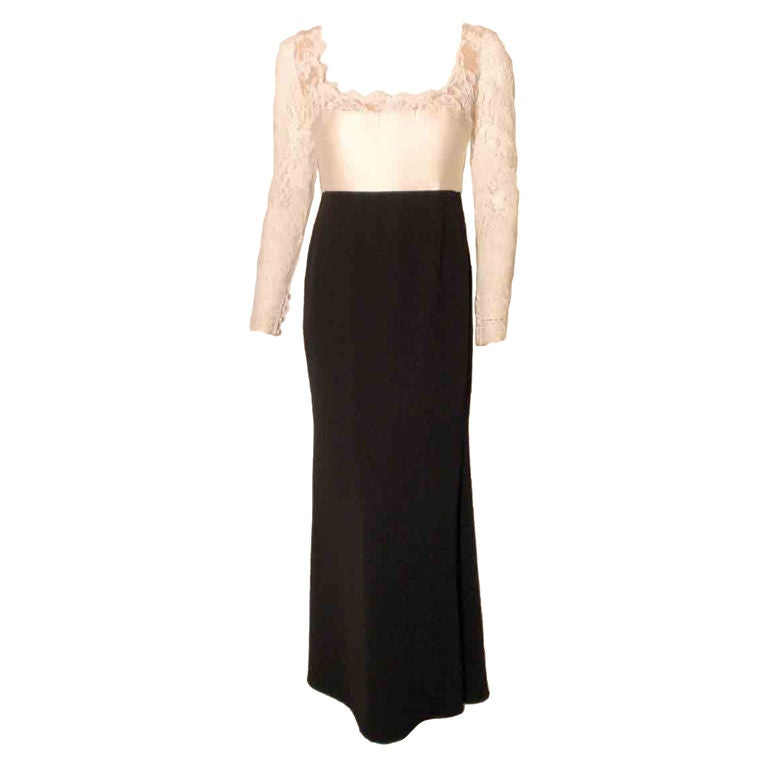 1990's Badgley Mischka Black and White Long Sleeve Gown