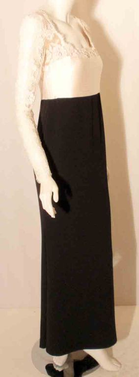 1990's Badgley Mischka Black and White Long Sleeve Gown For Sale 1