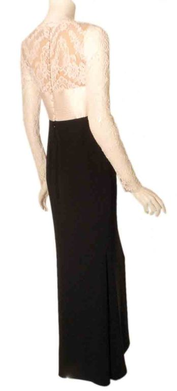 1990's Badgley Mischka Black and White Long Sleeve Gown For Sale 2