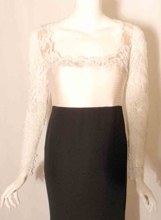 1990's Badgley Mischka Black and White Long Sleeve Gown For Sale 4