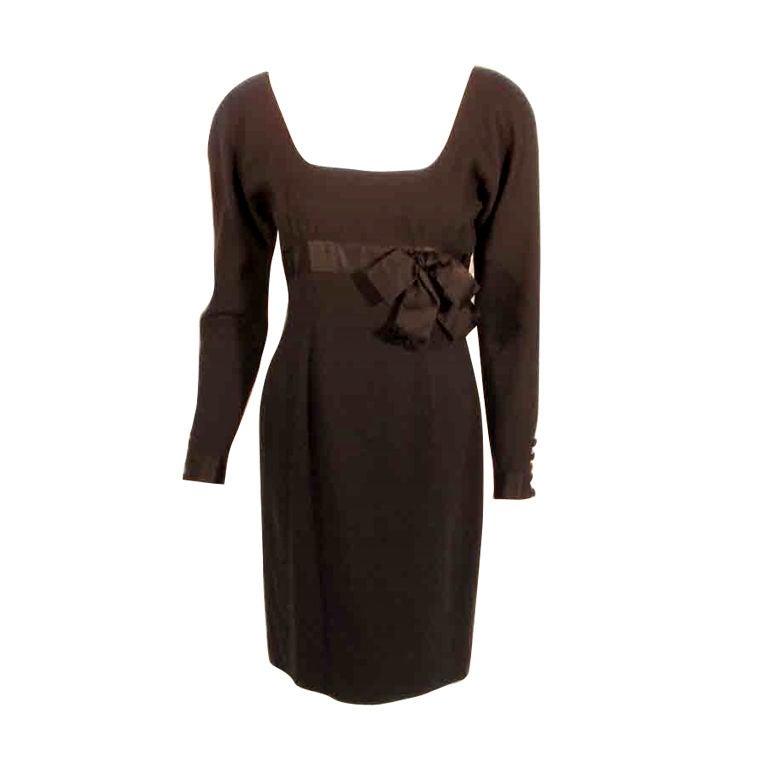 Carolyne Roehm Black Cocktail Dress w/Bow