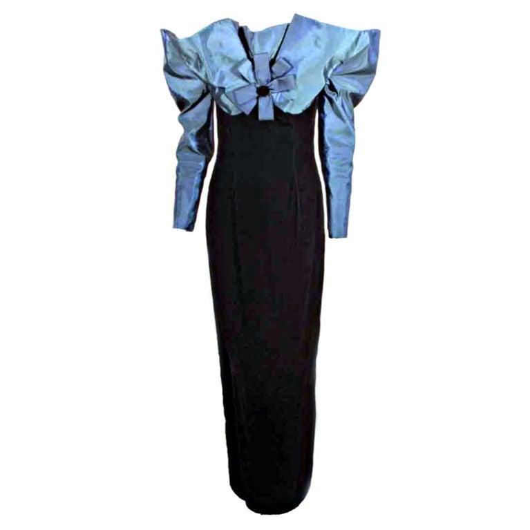 Victor Costa Blue Tafetta & Black velvet Avant Garde Long Sleeve Gown 1