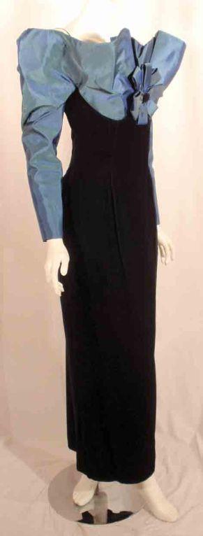 Victor Costa Blue Tafetta & Black velvet Avant Garde Long Sleeve Gown 4