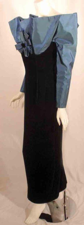 Victor Costa Blue Tafetta & Black velvet Avant Garde Long Sleeve Gown 5