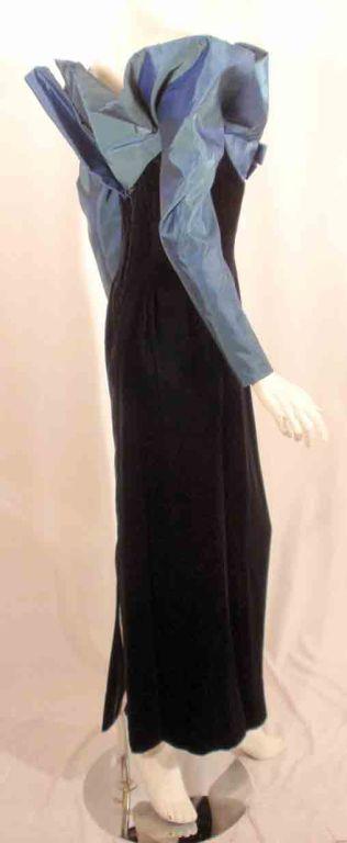 Victor Costa Blue Tafetta & Black velvet Avant Garde Long Sleeve Gown 6