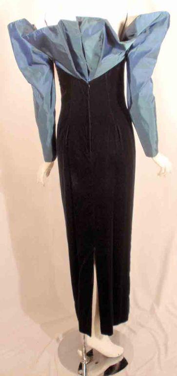 Victor Costa Blue Tafetta & Black velvet Avant Garde Long Sleeve Gown 7