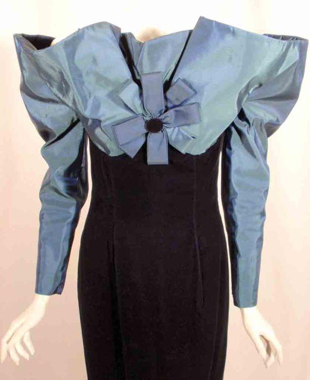 Victor Costa Blue Tafetta & Black velvet Avant Garde Long Sleeve Gown 8