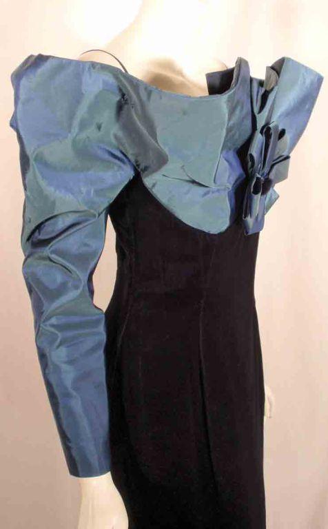 Victor Costa Blue Tafetta & Black velvet Avant Garde Long Sleeve Gown 9