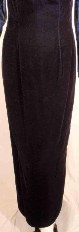 Victor Costa Blue Tafetta & Black velvet Avant Garde Long Sleeve Gown 10