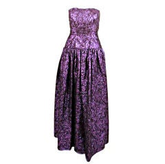 Jan Vanvelden 2pc Purple & Black Strapless Metallic Brocade Gown and Jacket