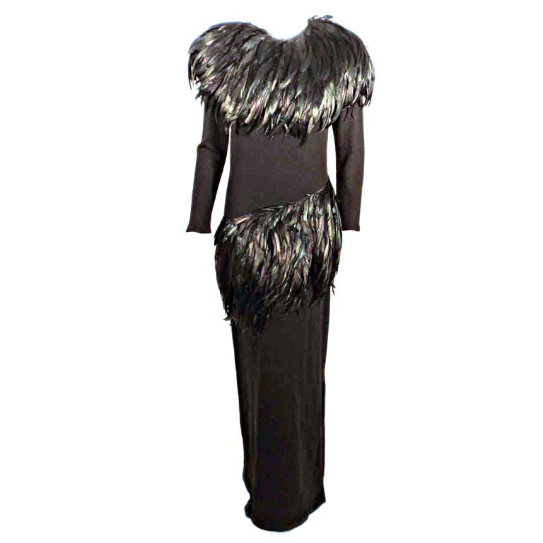 Adolfo Long Black knit Evening Gown with Iridescent Feathers