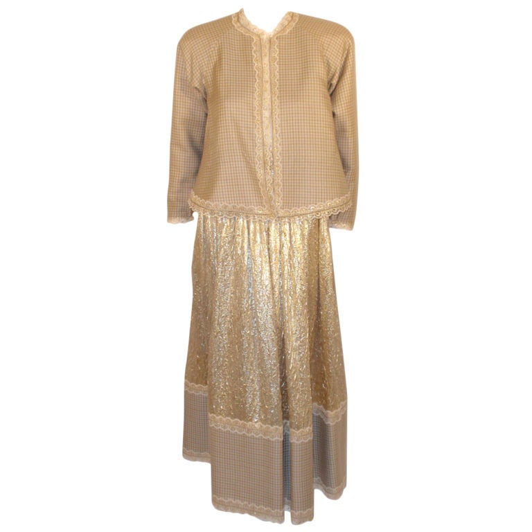 Attributed to Geoffrey Beene 3 Pc, Gold Wool & Lace Jacket, Skirt & Belt 1980's