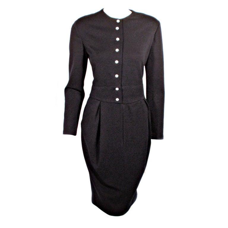 Geoffrey Beene 1980's Navy Blue Wool Jersey Dress Silk Lined Button Front