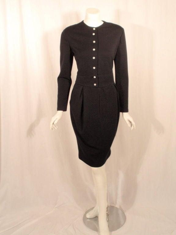 Geoffrey Beene 1980 S Navy Blue Wool Jersey Dress Silk
