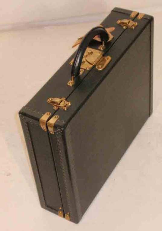 Louis Vuitton Dark Green Leather Briefcase 4