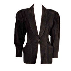 Alaia Black Suede fitted waist Jacket with side pockets