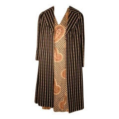 Bill Blass 2pc Paisley Print Shift Dress & striped Jacket Set circa late 1960's
