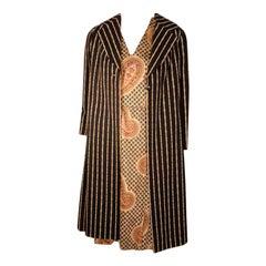 Bill Blass 2pc Paisley Print Shift Dress & striped Jacket Set circa late 1960's