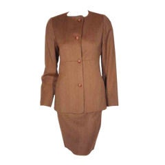 1990's Geoffrey Beene 2 pc.Brown Tweed Jacket & Skirt Set