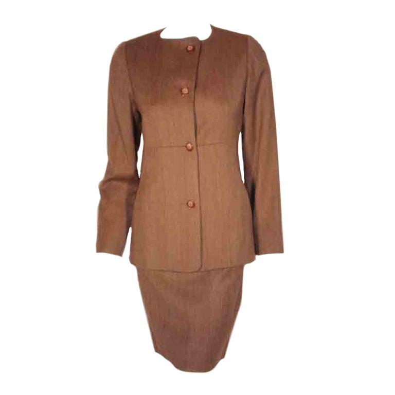 1990's Geoffrey Beene 2 pc.Brown Tweed Jacket & Skirt Set