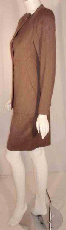 Women's 1990's Geoffrey Beene 2 pc.Brown Tweed Jacket & Skirt Set For Sale