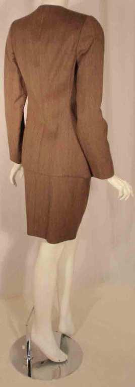 1990's Geoffrey Beene 2 pc.Brown Tweed Jacket & Skirt Set For Sale 1