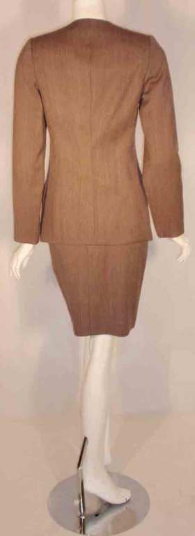 1990's Geoffrey Beene 2 pc.Brown Tweed Jacket & Skirt Set For Sale 2