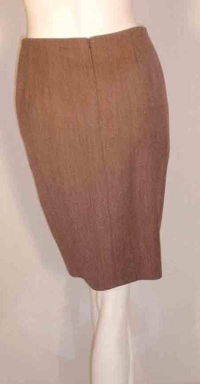 1990's Geoffrey Beene 2 pc.Brown Tweed Jacket & Skirt Set For Sale 6