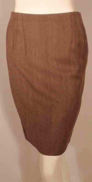 1990's Geoffrey Beene 2 pc.Brown Tweed Jacket & Skirt Set For Sale 5