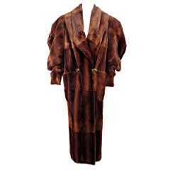 Fendi By Lagerfeld Brown Sheared Fitch Fur Long Coat, c. 1980s