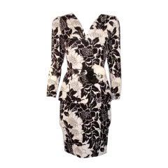 Andre Laug Black and White Silk Floral Print Dress w/Flower Belt